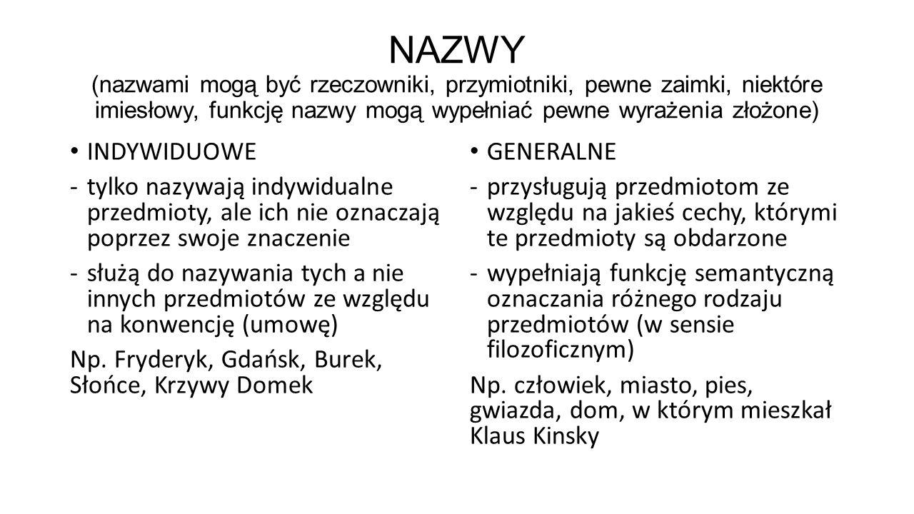 NAZWY (nazwami mogą być rzeczowniki, przymiotniki, pewne zaimki, niektóre imiesłowy, funkcję nazwy mogą wypełniać pewne wyrażenia złożone)
