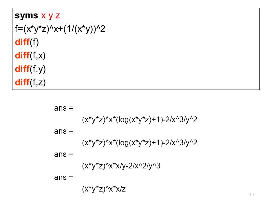 f=(x*y*z)^x+(1/(x*y))^2 diff(f) diff(f,x) diff(f,y) diff(f,z)