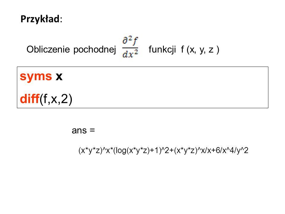 syms x diff(f,x,2) Przykład: