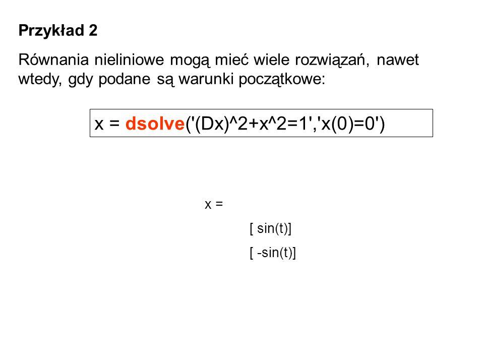 x = dsolve( (Dx)^2+x^2=1 , x(0)=0 )