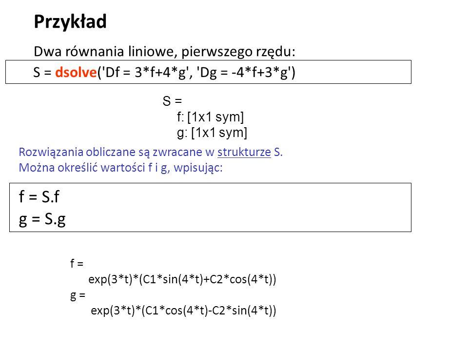 Przykład f = S.f g = S.g Dwa równania liniowe, pierwszego rzędu: