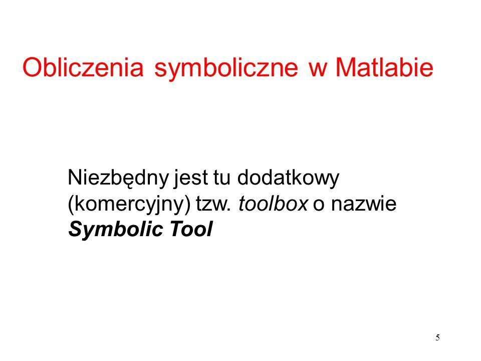 Obliczenia symboliczne w Matlabie