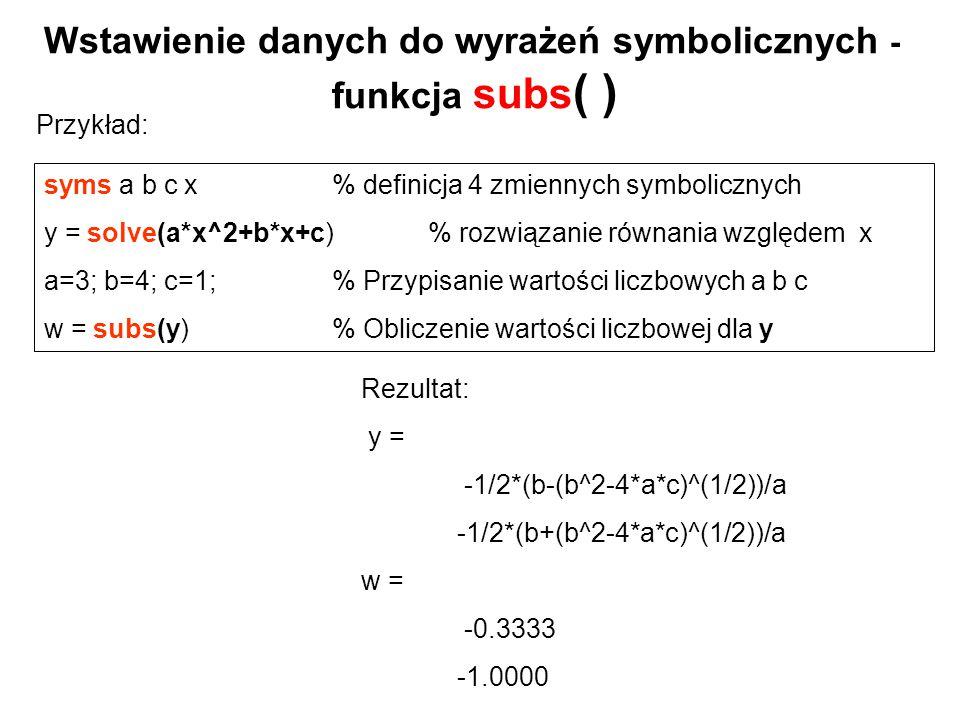 Wstawienie danych do wyrażeń symbolicznych - funkcja subs( )