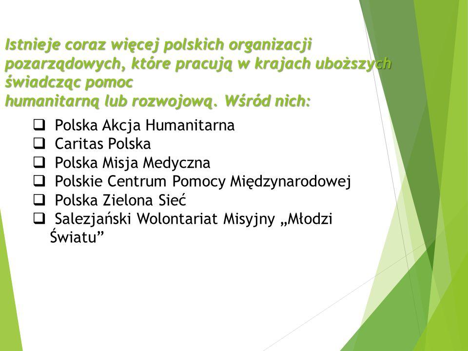 Istnieje coraz więcej polskich organizacji pozarządowych, które pracują w krajach uboższych świadcząc pomoc humanitarną lub rozwojową. Wśród nich: