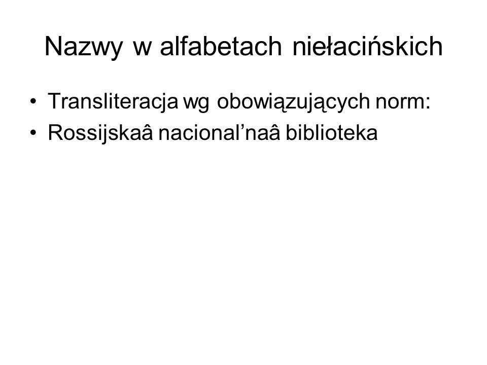 Nazwy w alfabetach niełacińskich