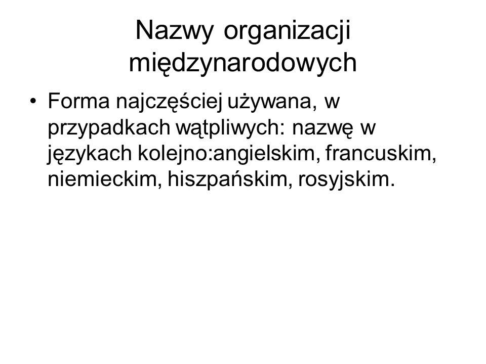 Nazwy organizacji międzynarodowych