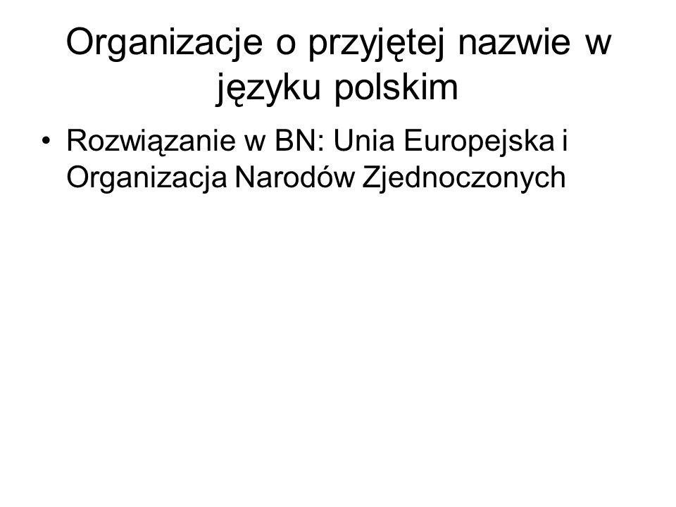 Organizacje o przyjętej nazwie w języku polskim