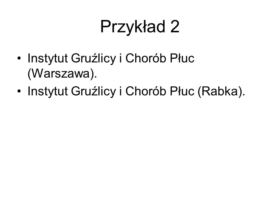 Przykład 2 Instytut Gruźlicy i Chorób Płuc (Warszawa).