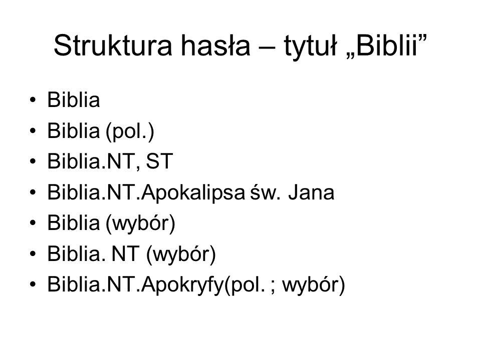 """Struktura hasła – tytuł """"Biblii"""