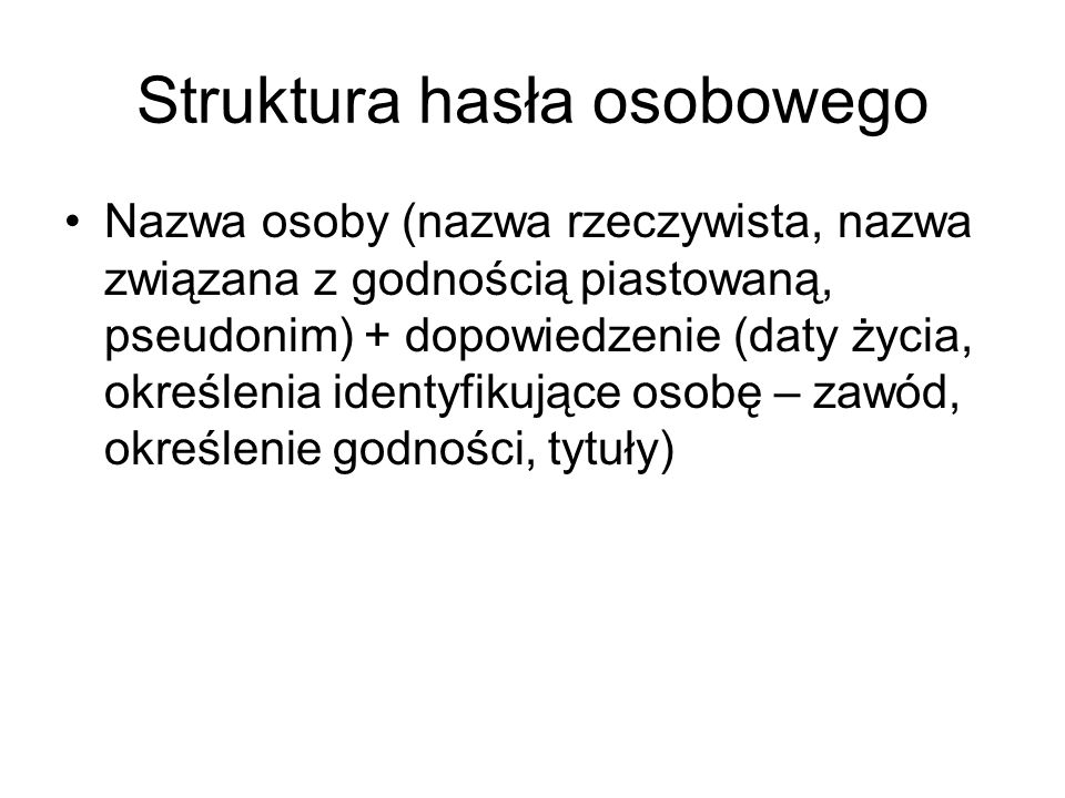 Struktura hasła osobowego