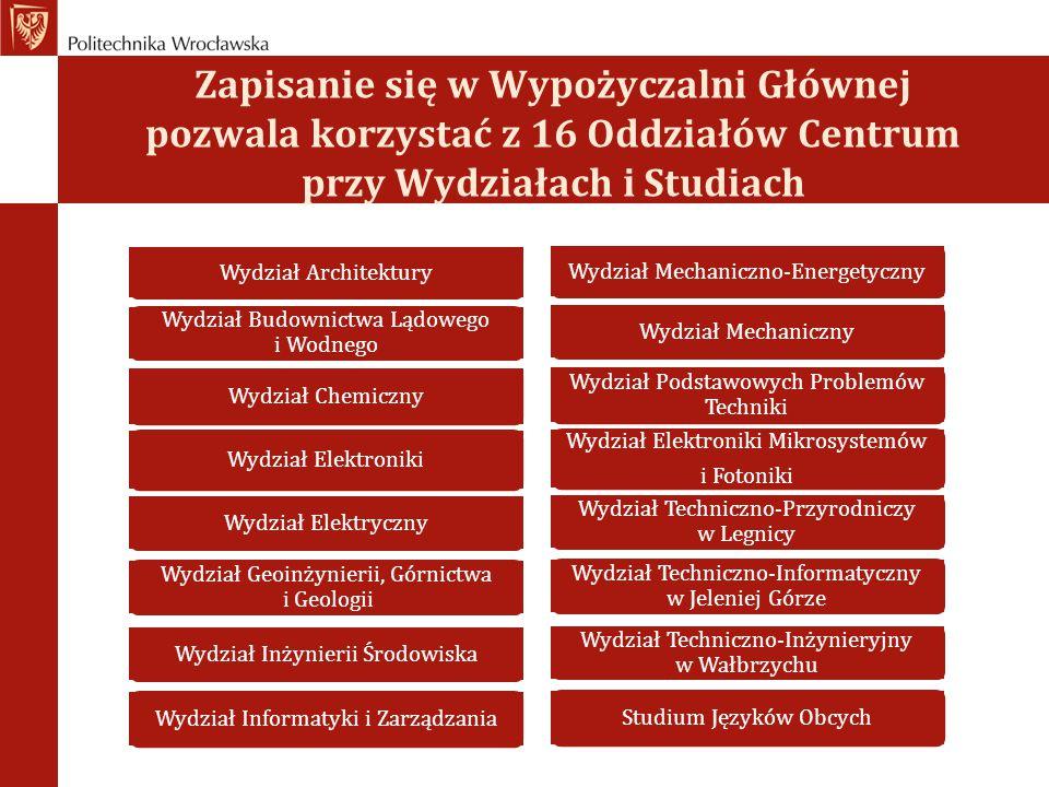 Zapisanie się w Wypożyczalni Głównej pozwala korzystać z 16 Oddziałów Centrum przy Wydziałach i Studiach