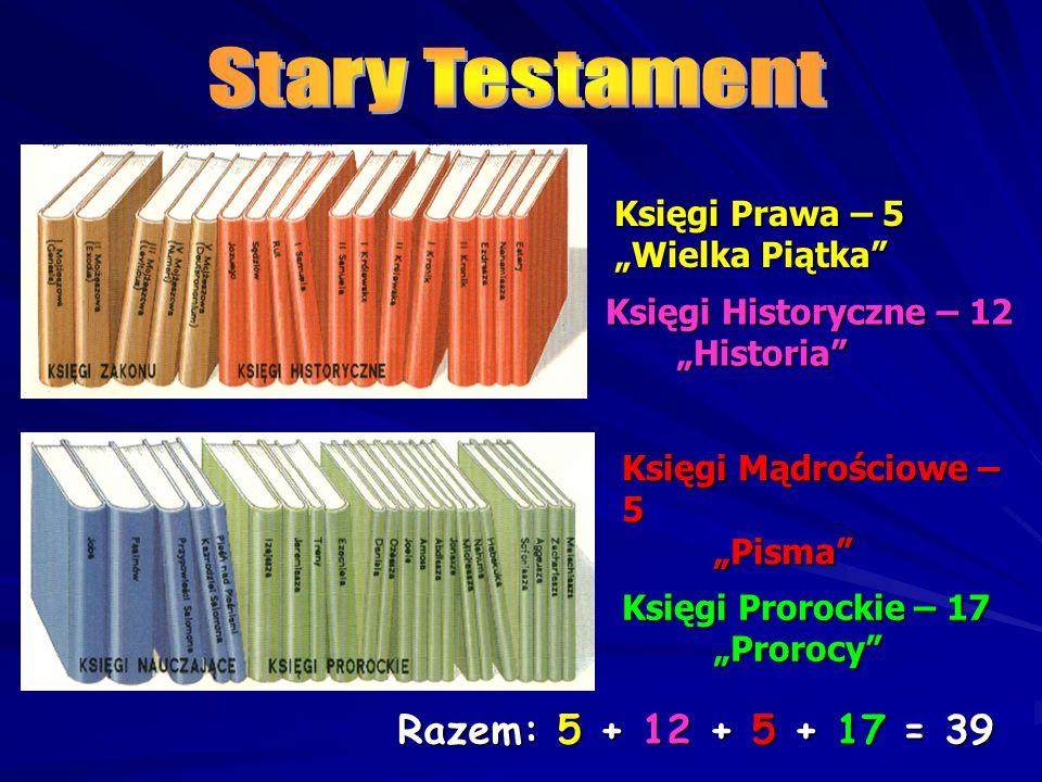 Stary Testament Razem: 5 + 12 + 5 + 17 = 39 Księgi Prawa – 5