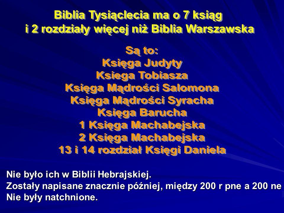 Biblia Tysiąclecia ma o 7 ksiąg