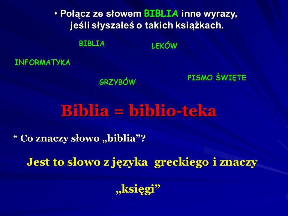 Biblia = biblio-teka Jest to słowo z języka greckiego i znaczy