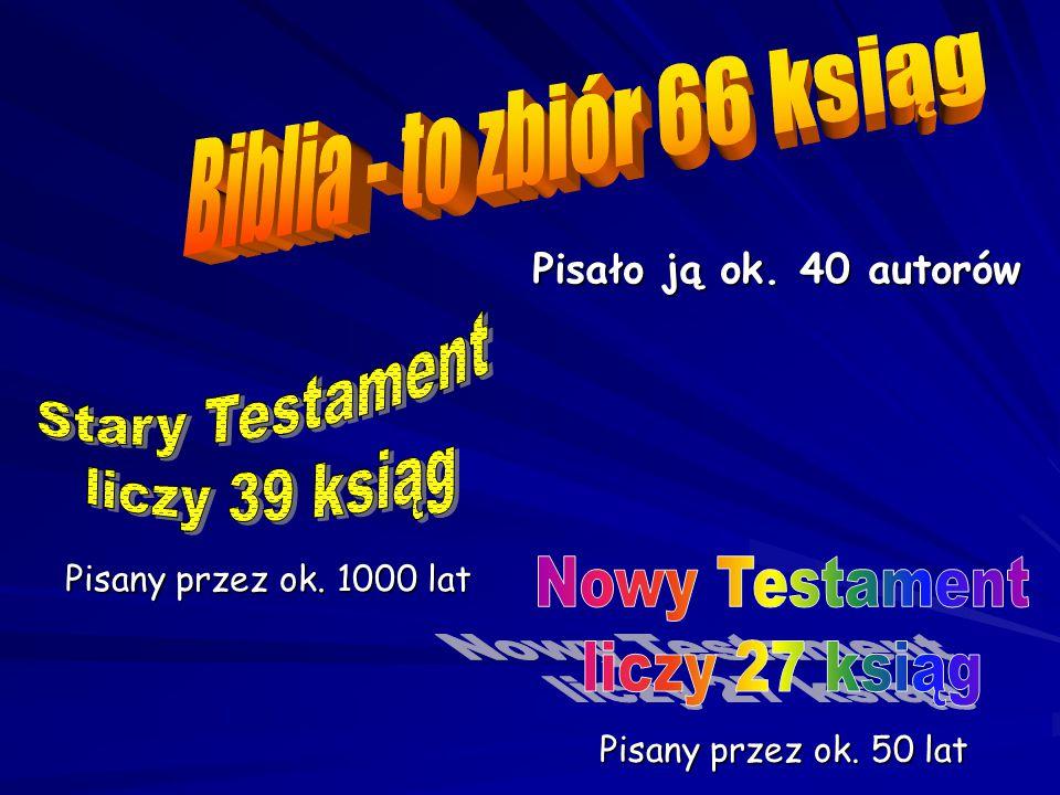 Biblia - to zbiór 66 ksiąg Stary Testament liczy 39 ksiąg