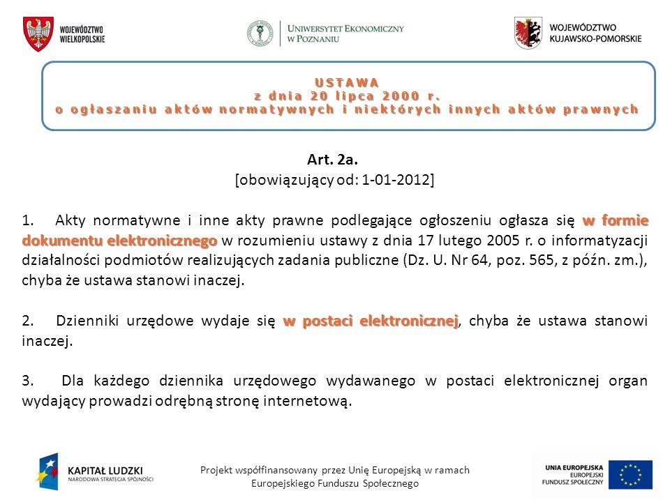 o ogłaszaniu aktów normatywnych i niektórych innych aktów prawnych