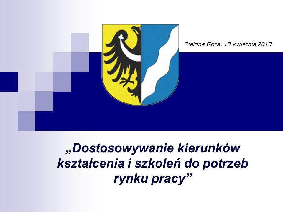 """Zielona Góra, 18 kwietnia 2013 """"Dostosowywanie kierunków kształcenia i szkoleń do potrzeb rynku pracy"""