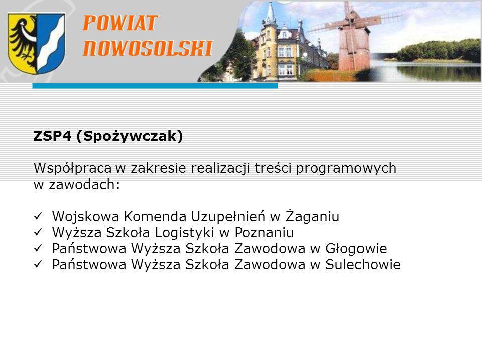 ZSP4 (Spożywczak) Współpraca w zakresie realizacji treści programowych w zawodach: Wojskowa Komenda Uzupełnień w Żaganiu.