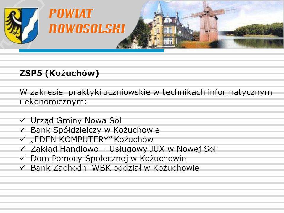 ZSP5 (Kożuchów) W zakresie praktyki uczniowskie w technikach informatycznym i ekonomicznym: Urząd Gminy Nowa Sól.