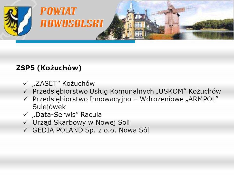 """ZSP5 (Kożuchów) """"ZASET Kożuchów. Przedsiębiorstwo Usług Komunalnych """"USKOM Kożuchów."""