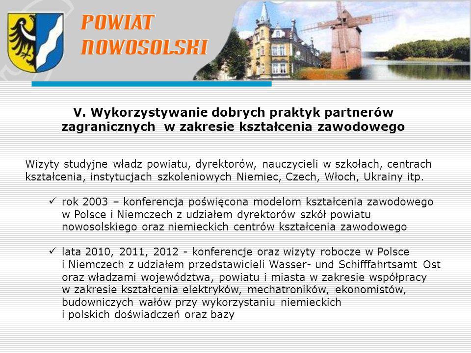 V. Wykorzystywanie dobrych praktyk partnerów zagranicznych w zakresie kształcenia zawodowego