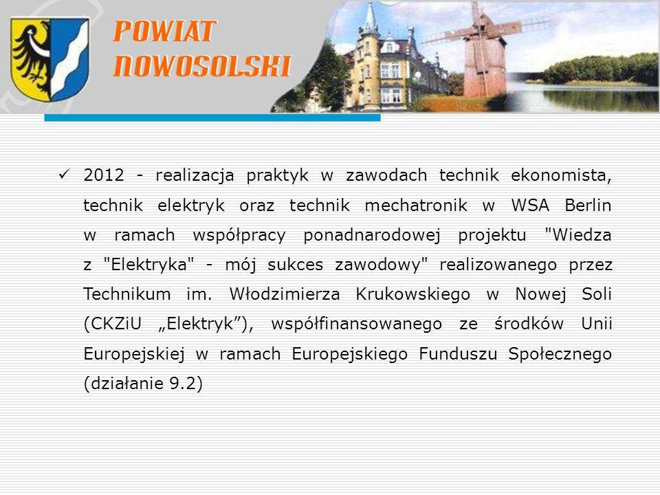 2012 - realizacja praktyk w zawodach technik ekonomista, technik elektryk oraz technik mechatronik w WSA Berlin w ramach współpracy ponadnarodowej projektu Wiedza z Elektryka - mój sukces zawodowy realizowanego przez Technikum im.