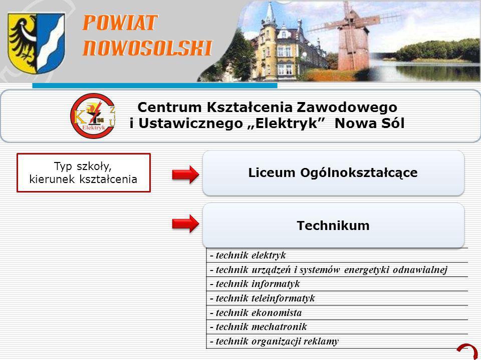 """Centrum Kształcenia Zawodowego i Ustawicznego """"Elektryk Nowa Sól"""