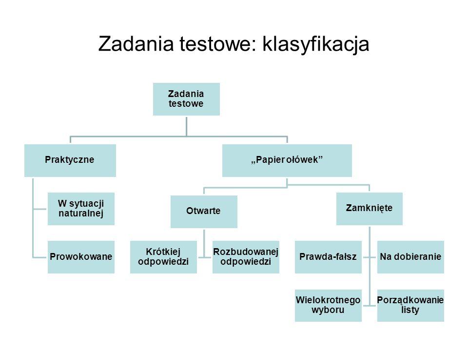 Zadania testowe: klasyfikacja