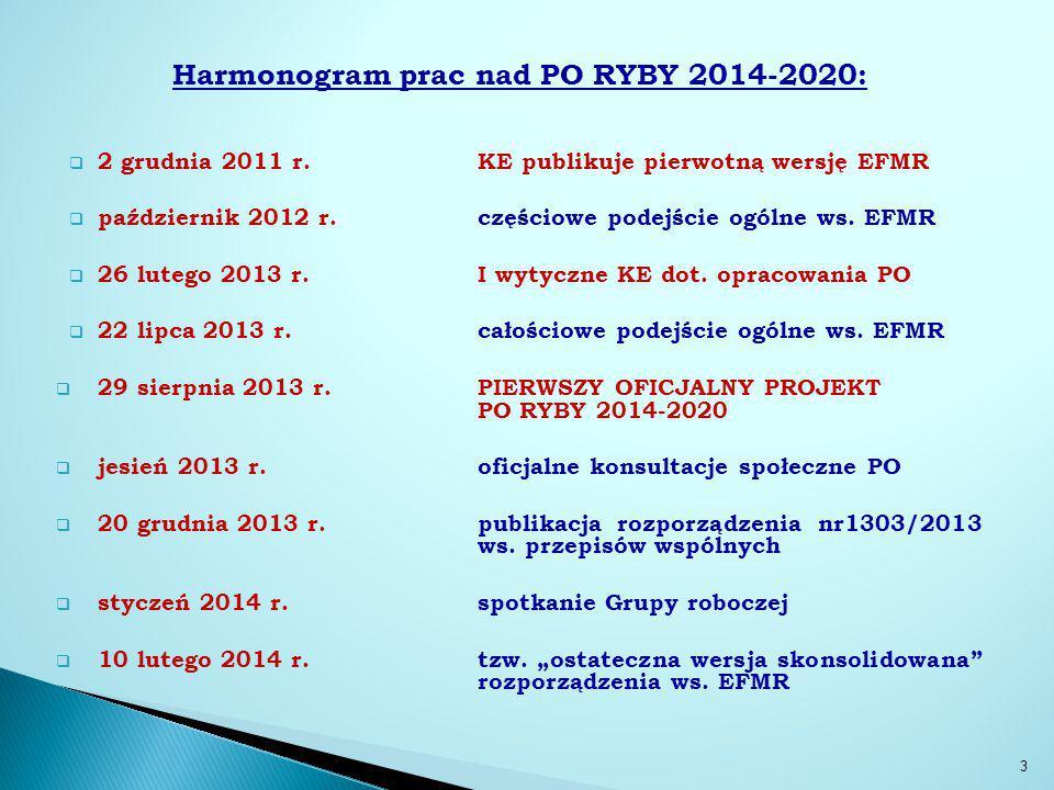 Harmonogram prac nad PO RYBY 2014-2020: