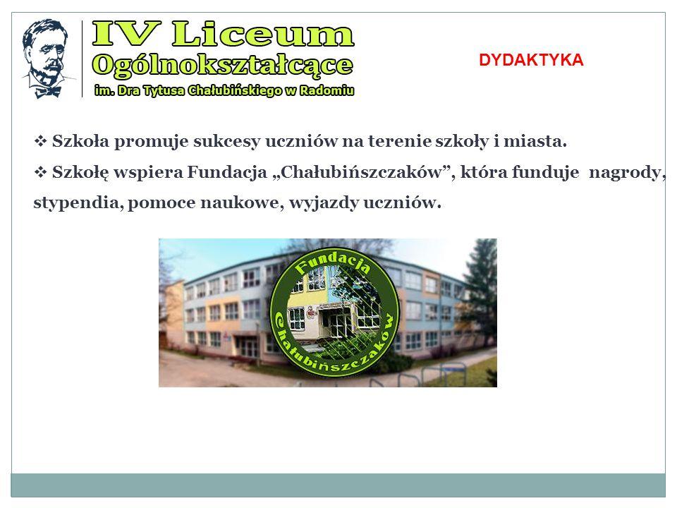 DYDAKTYKA Szkoła promuje sukcesy uczniów na terenie szkoły i miasta.