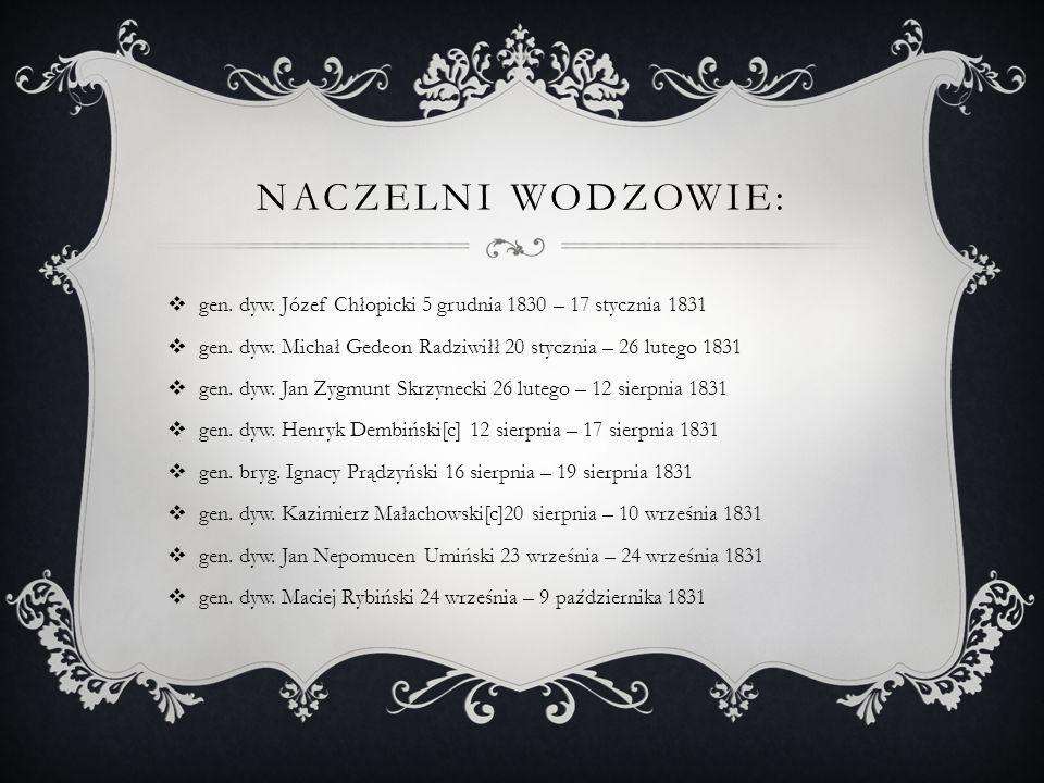 Naczelni wodzowie: gen. dyw. Józef Chłopicki 5 grudnia 1830 – 17 stycznia 1831. gen. dyw. Michał Gedeon Radziwiłł 20 stycznia – 26 lutego 1831.