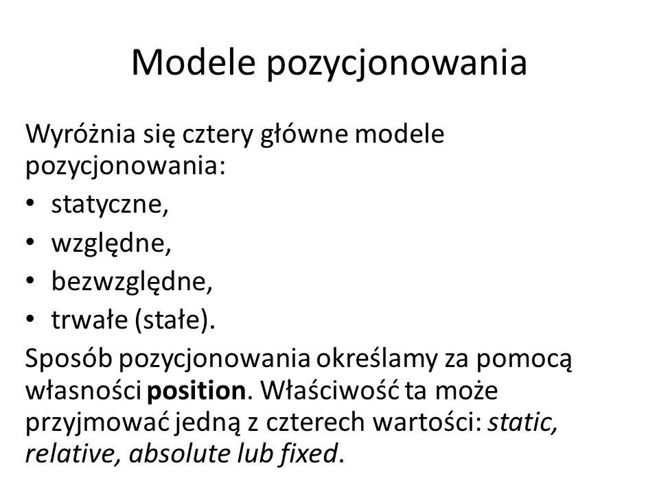 Modele pozycjonowania