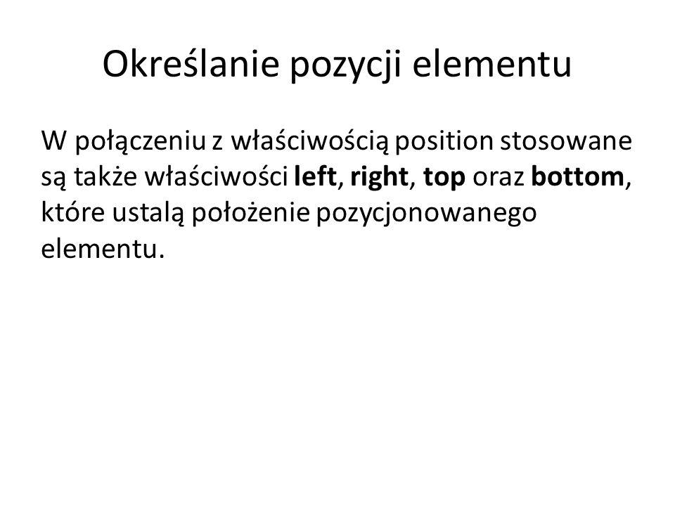 Określanie pozycji elementu