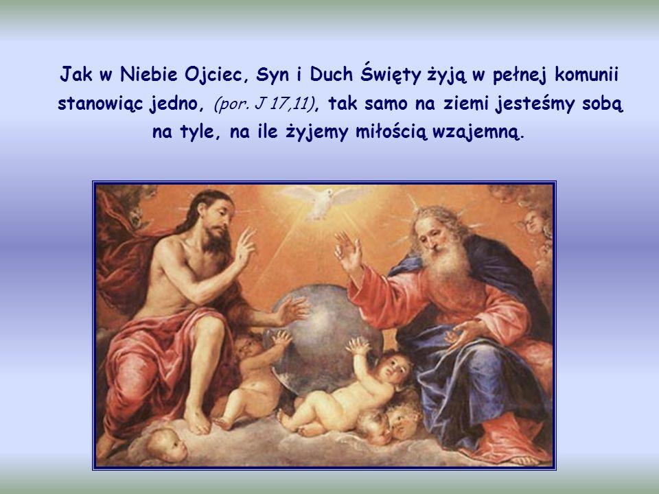Jak w Niebie Ojciec, Syn i Duch Święty żyją w pełnej komunii stanowiąc jedno, (por.