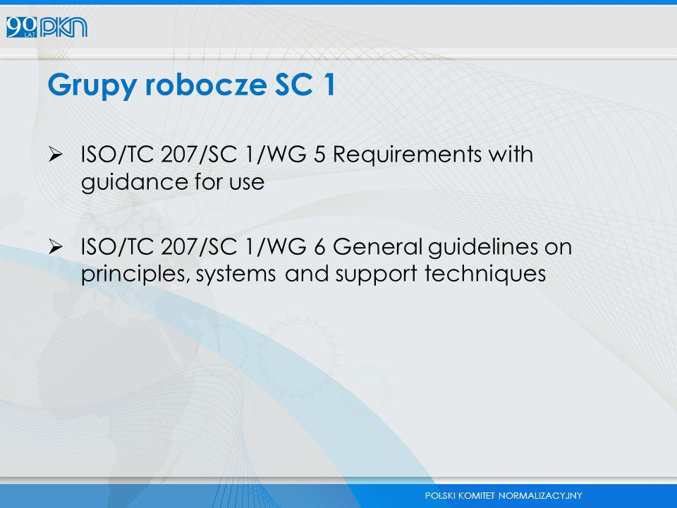Grupy robocze SC 1 ISO/TC 207/SC 1/WG 5 Requirements with guidance for use.