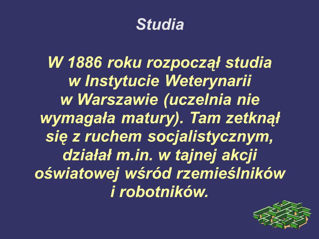W 1886 roku rozpoczął studia w Instytucie Weterynarii
