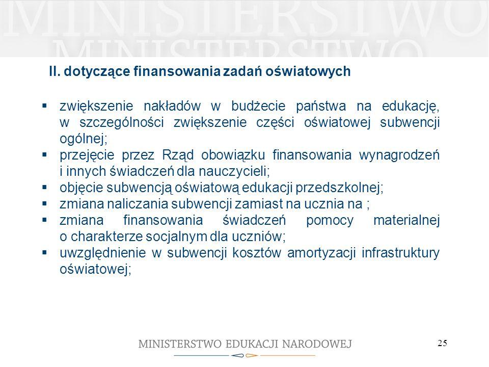 II. dotyczące finansowania zadań oświatowych