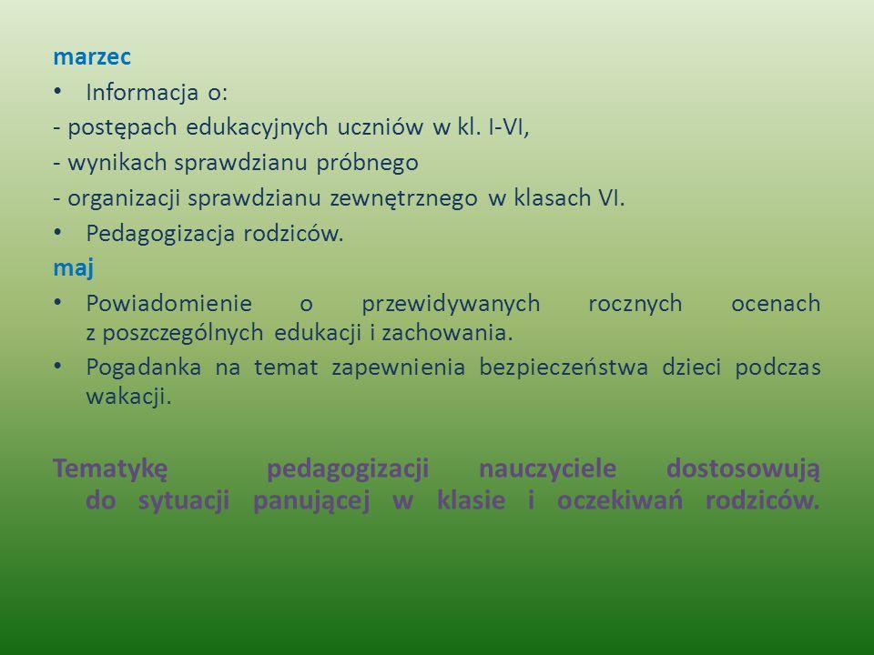 marzec Informacja o: - postępach edukacyjnych uczniów w kl. I-VI, - wynikach sprawdzianu próbnego.