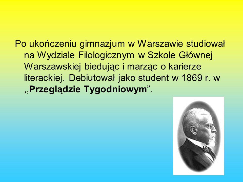 Po ukończeniu gimnazjum w Warszawie studiował na Wydziale Filologicznym w Szkole Głównej Warszawskiej biedując i marząc o karierze literackiej.