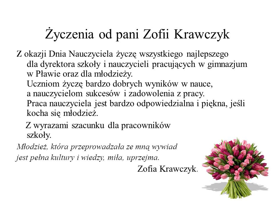 Życzenia od pani Zofii Krawczyk