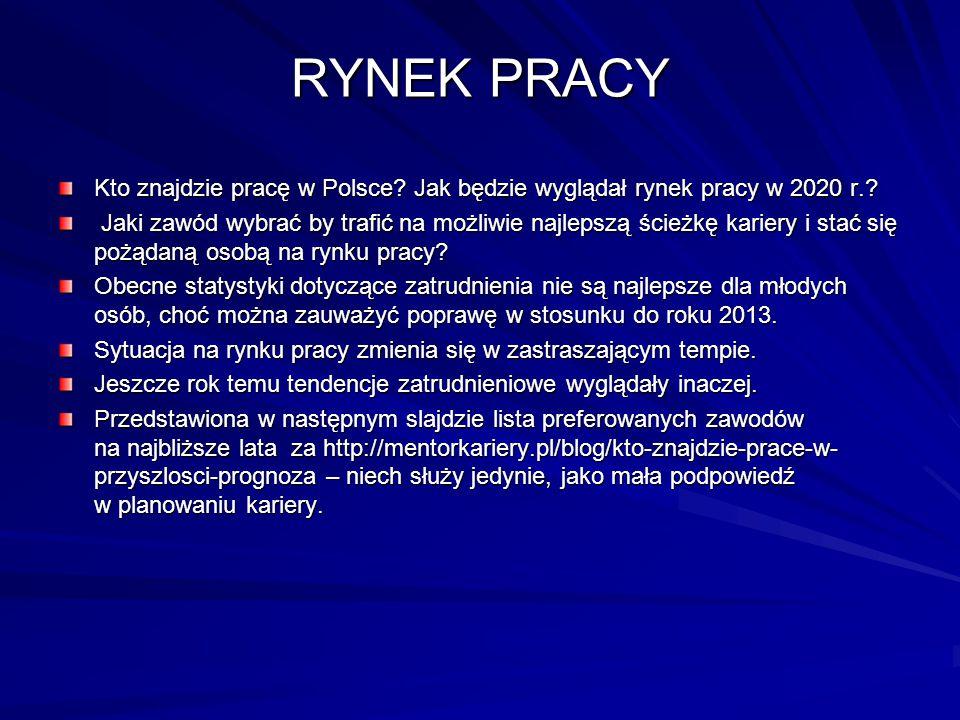 RYNEK PRACY Kto znajdzie pracę w Polsce Jak będzie wyglądał rynek pracy w 2020 r.