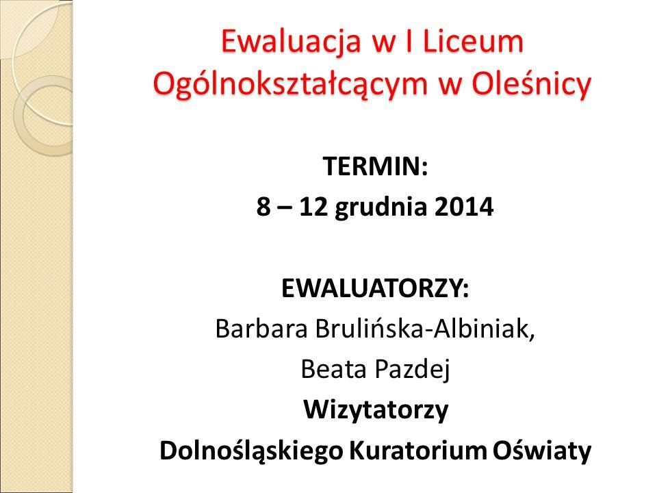 Ewaluacja w I Liceum Ogólnokształcącym w Oleśnicy