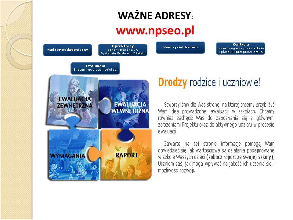 WAŻNE ADRESY: www.npseo.pl