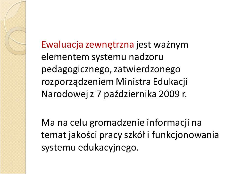 Ewaluacja zewnętrzna jest ważnym elementem systemu nadzoru pedagogicznego, zatwierdzonego rozporządzeniem Ministra Edukacji Narodowej z 7 października 2009 r.