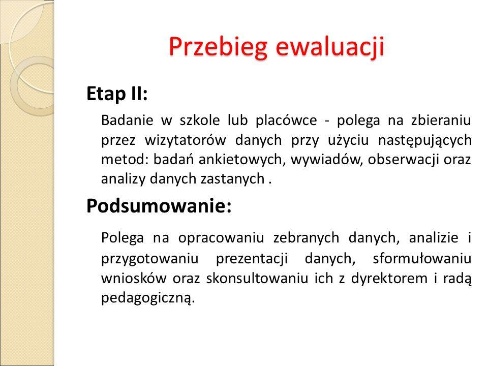 Przebieg ewaluacji Etap II: Podsumowanie: