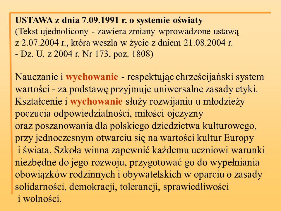 USTAWA z dnia 7.09.1991 r. o systemie oświaty