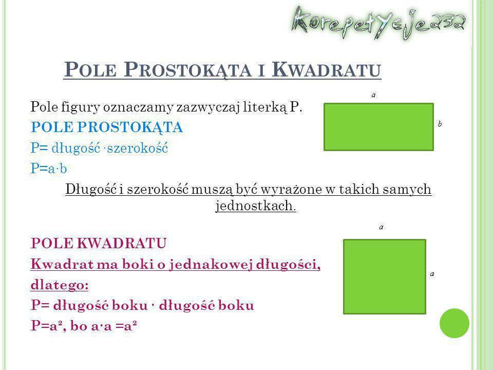 Pole Prostokąta i Kwadratu