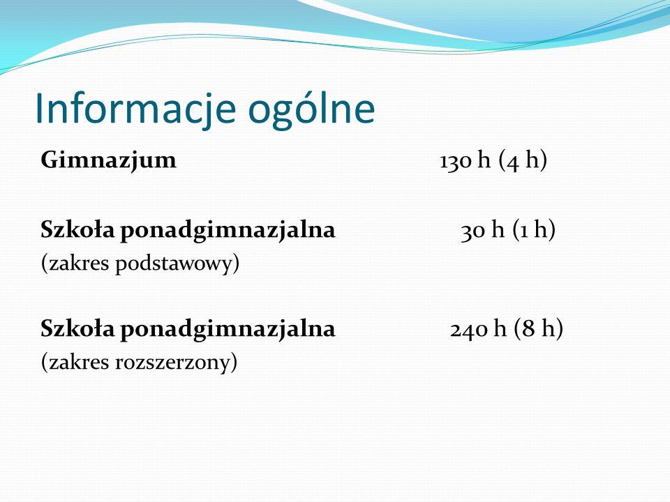 Informacje ogólne Gimnazjum 130 h (4 h)
