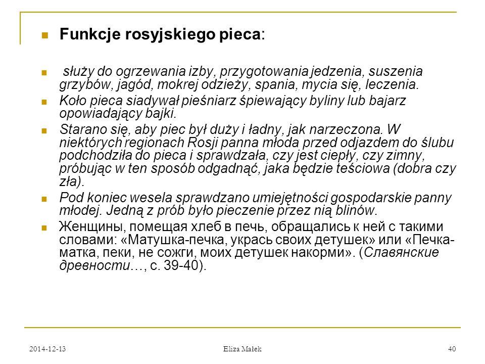 Funkcje rosyjskiego pieca: