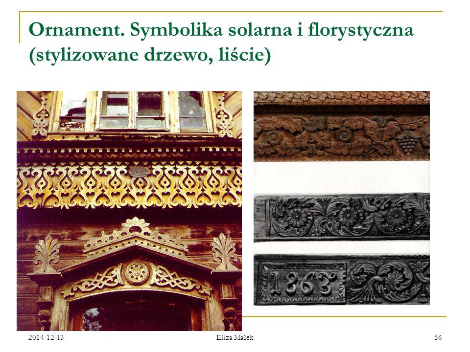 Ornament. Symbolika solarna i florystyczna (stylizowane drzewo, liście)